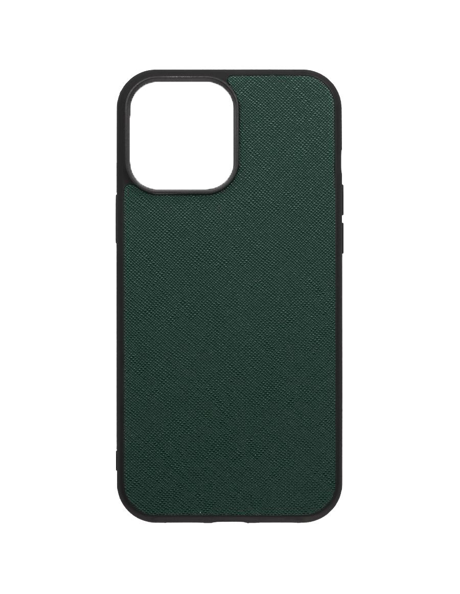 Timber Green Saffiano Vegan iPhone 13 Pro Max Case