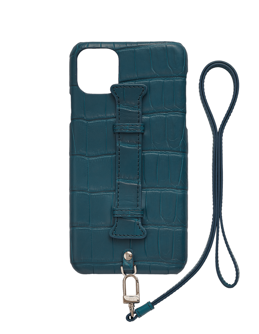 Matte Denim IV Croc Iphone 11 Pro Max With Holder & Lanyard