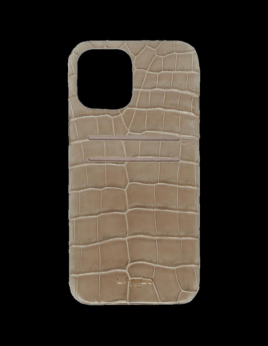 Dorian Grey Croc iPhone 12 Pro Max With Card Slots