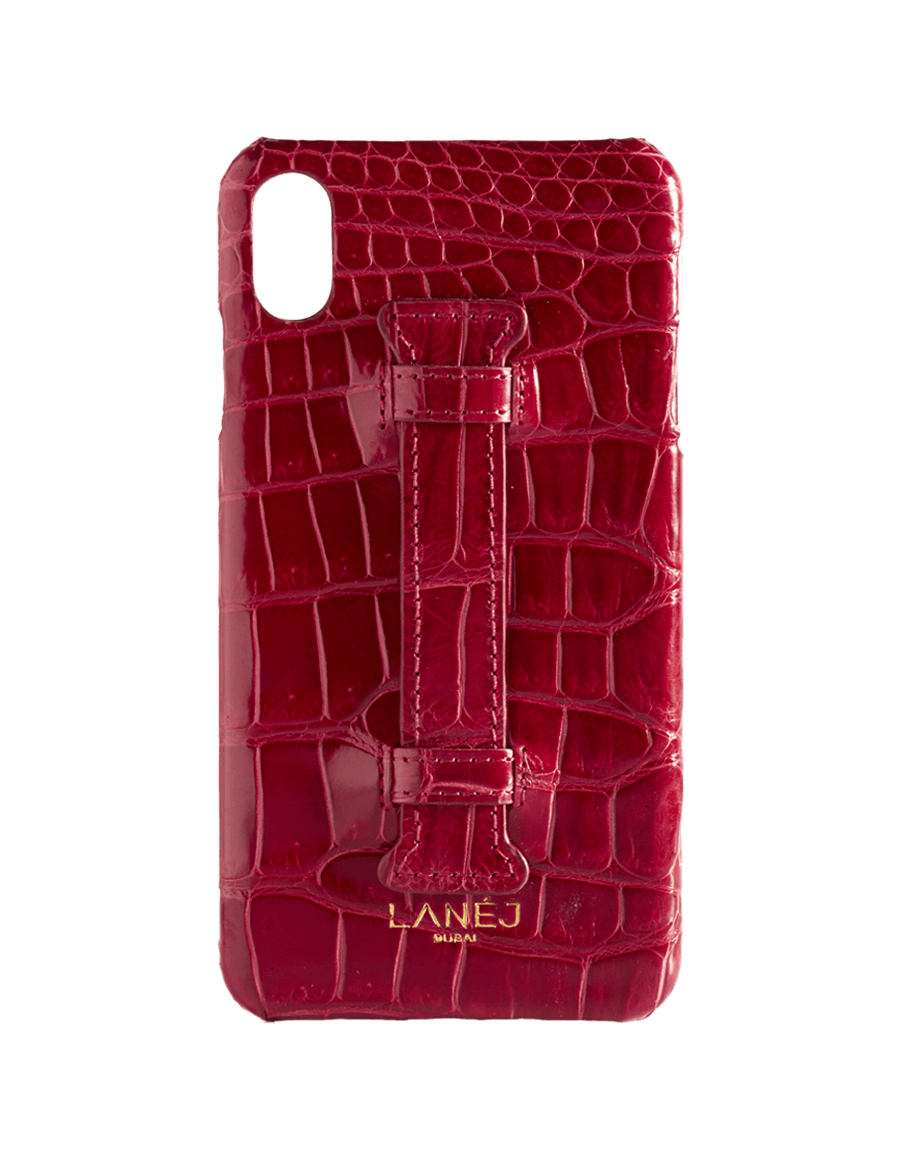 Berry Red Croc Iphone XS Max With Holder