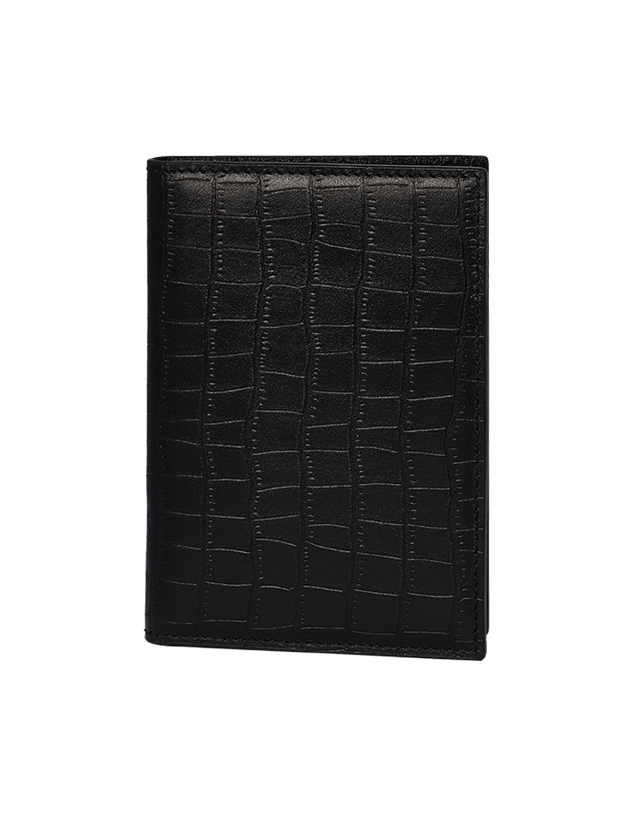 Black Croco Embossed Passport Holder