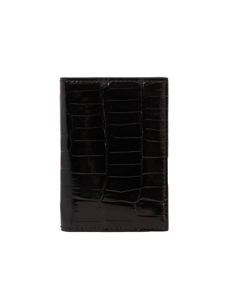 Black Crocodile Bi-Fold Holder