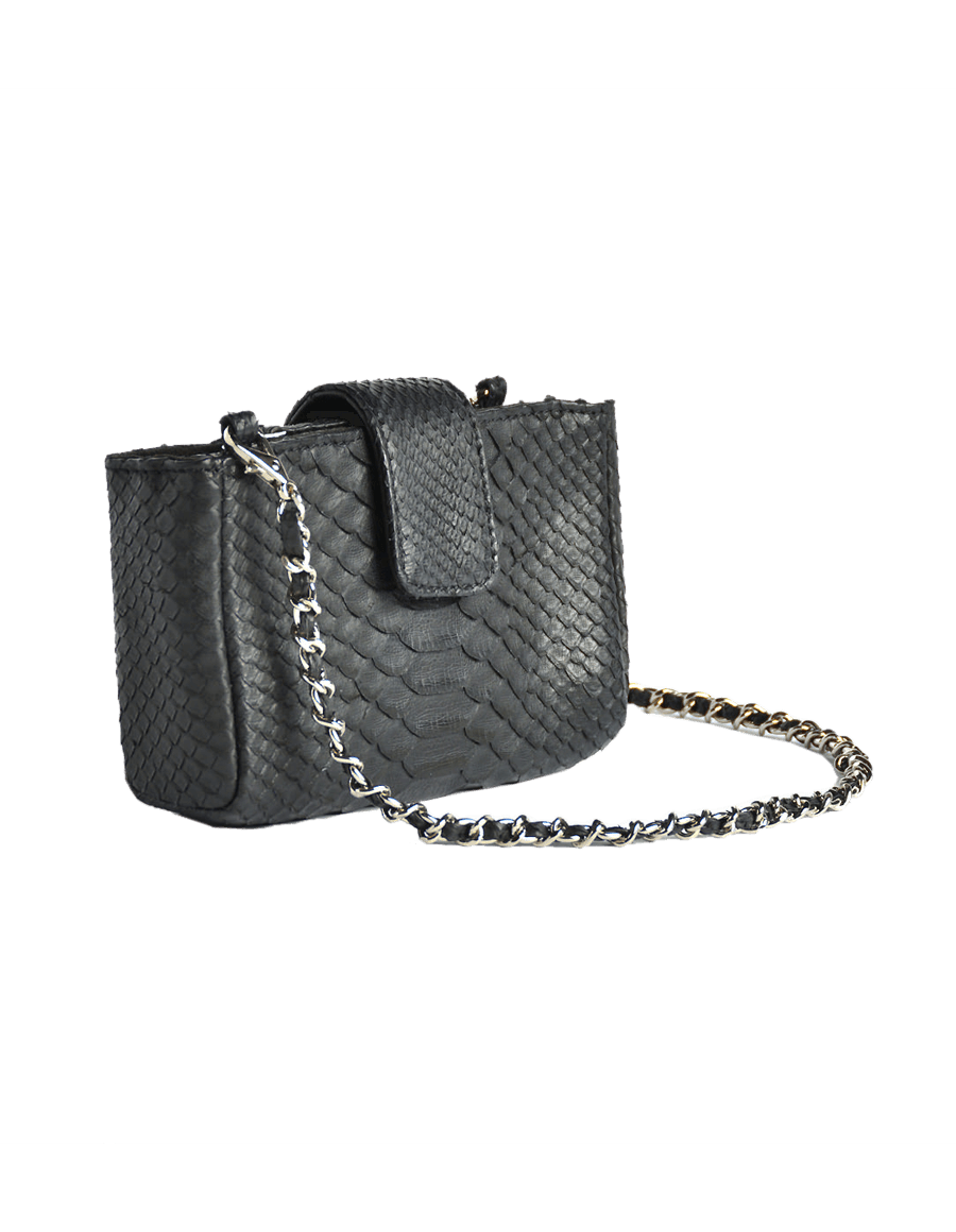Black Python Crossbody Clutch