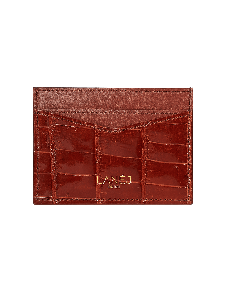 Burgundy Crocodile Signature Card Holder