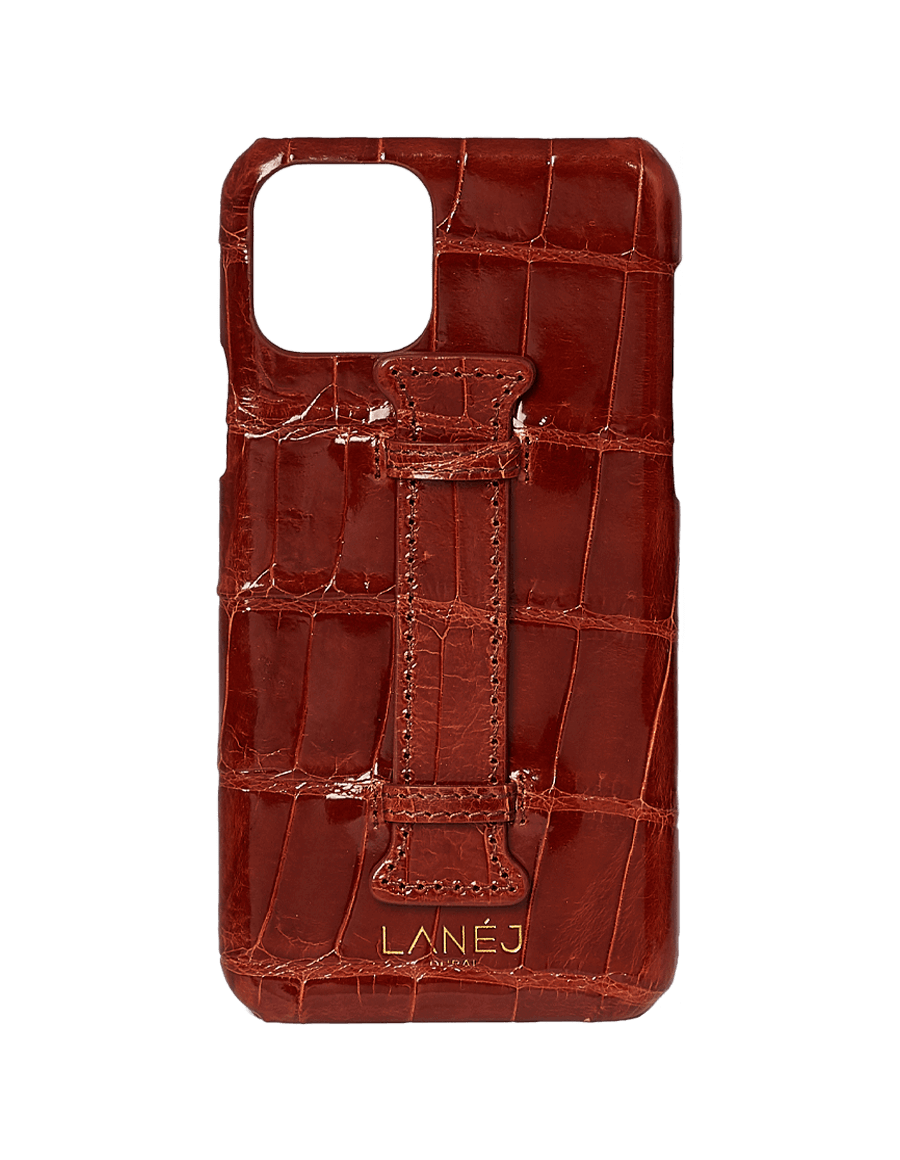 Burgundy Croc Iphone 11 Pro With Holder