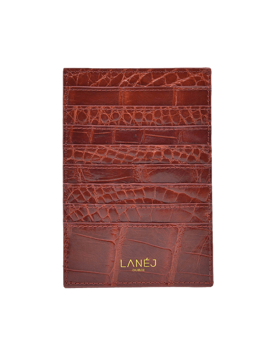 Burgundy Crocodile Grande Card Holder