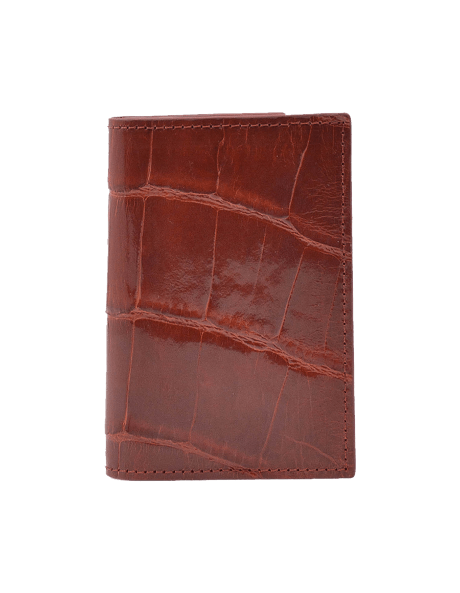 Burgundy Crocodile Bi-Fold Card Holder