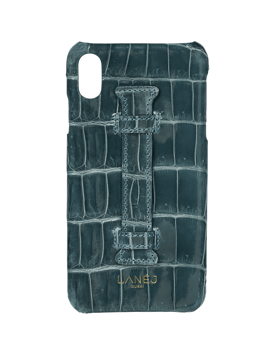 Cadet Grey Croc Iphone XS Max With Holder