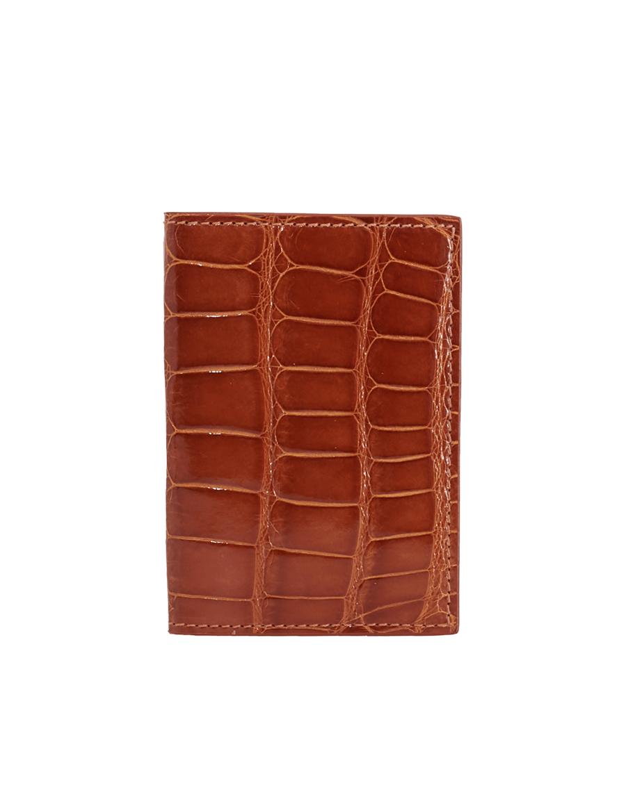 Cinnamon Brown Crocodile Bi-Fold Holder
