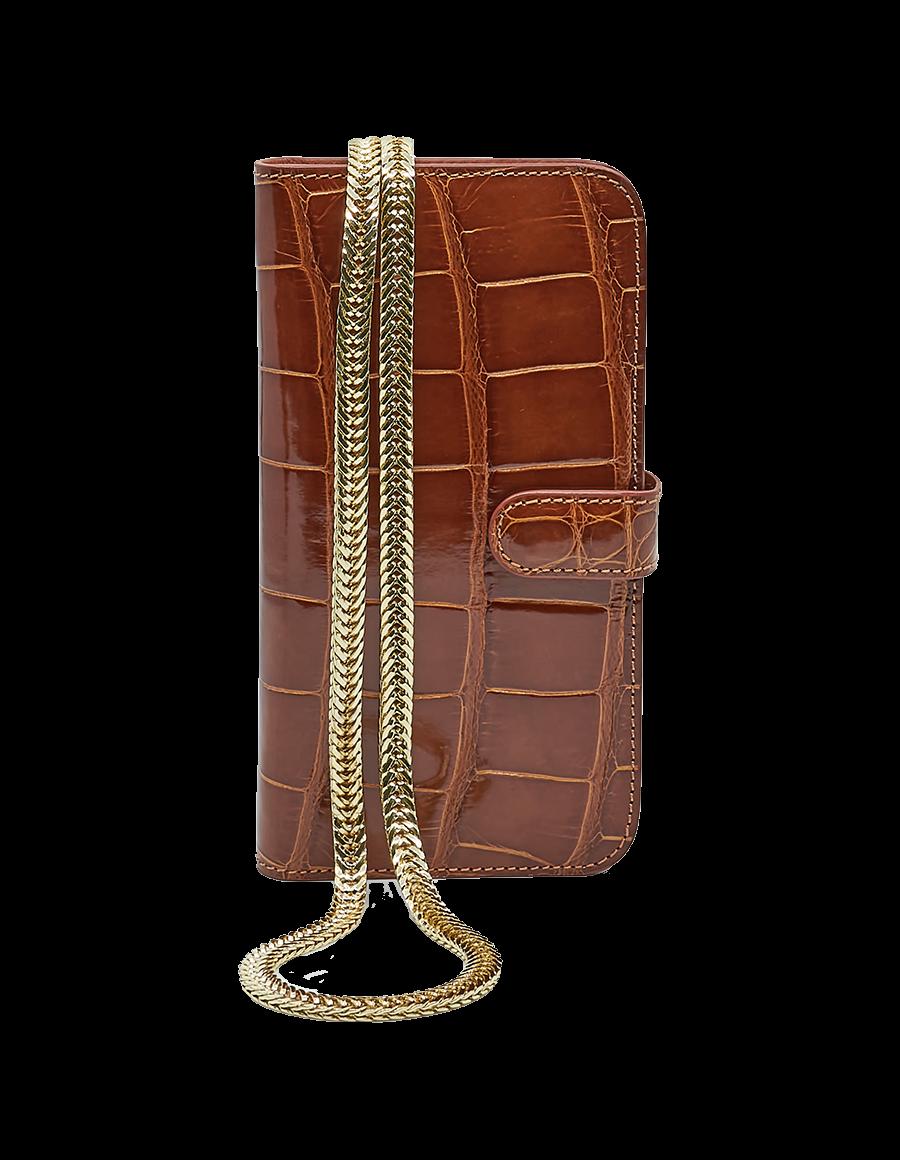Cinnamon Brown Crocodile 12 Pro Max Crossbody case