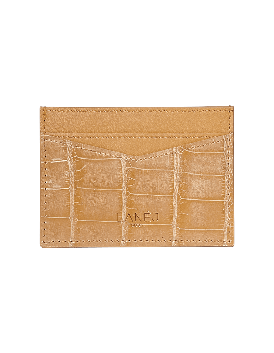 Creme Crocodile Signature Card Holder