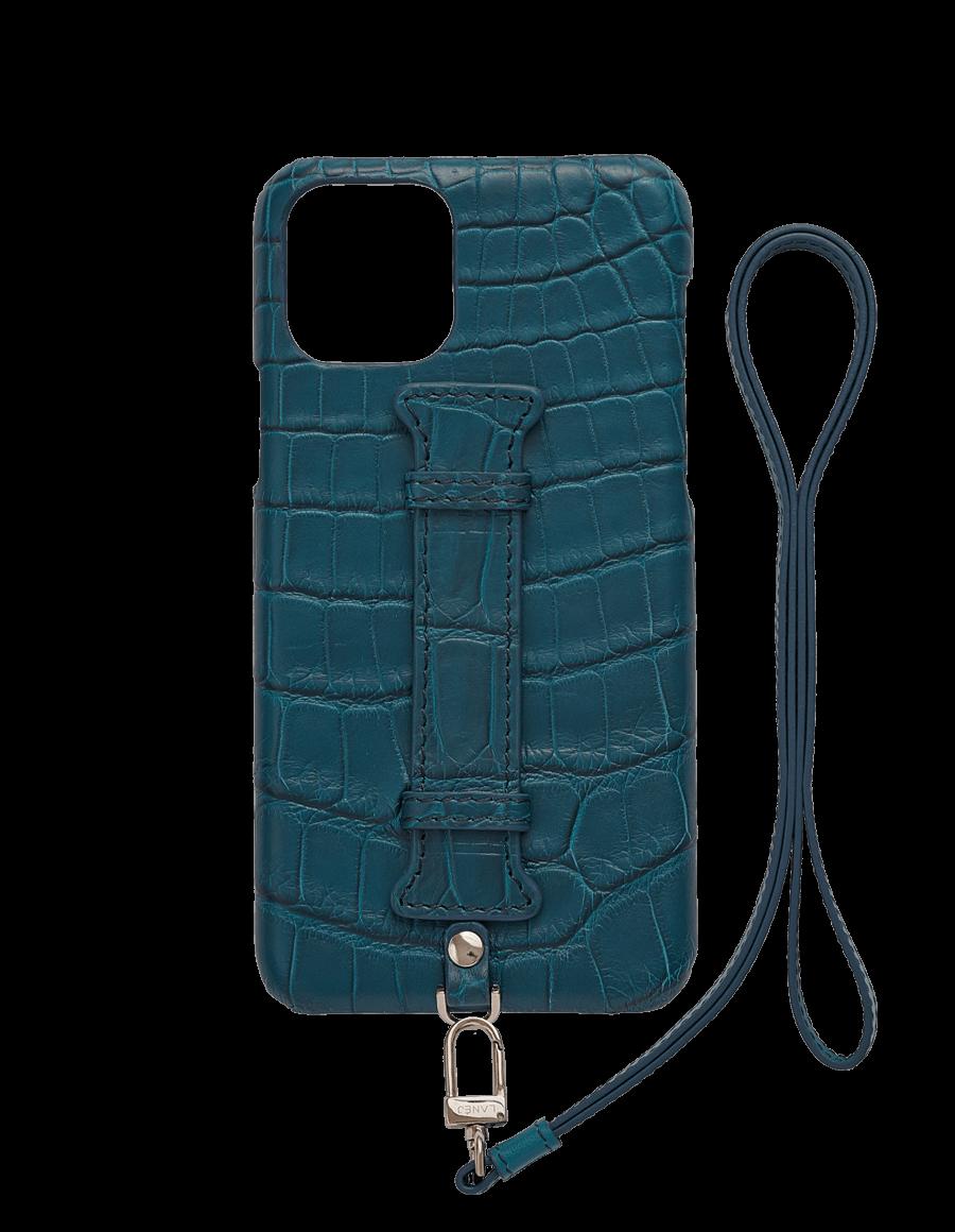 Matte Denim IV Croc Iphone 11 Pro With Holder & Lanyard