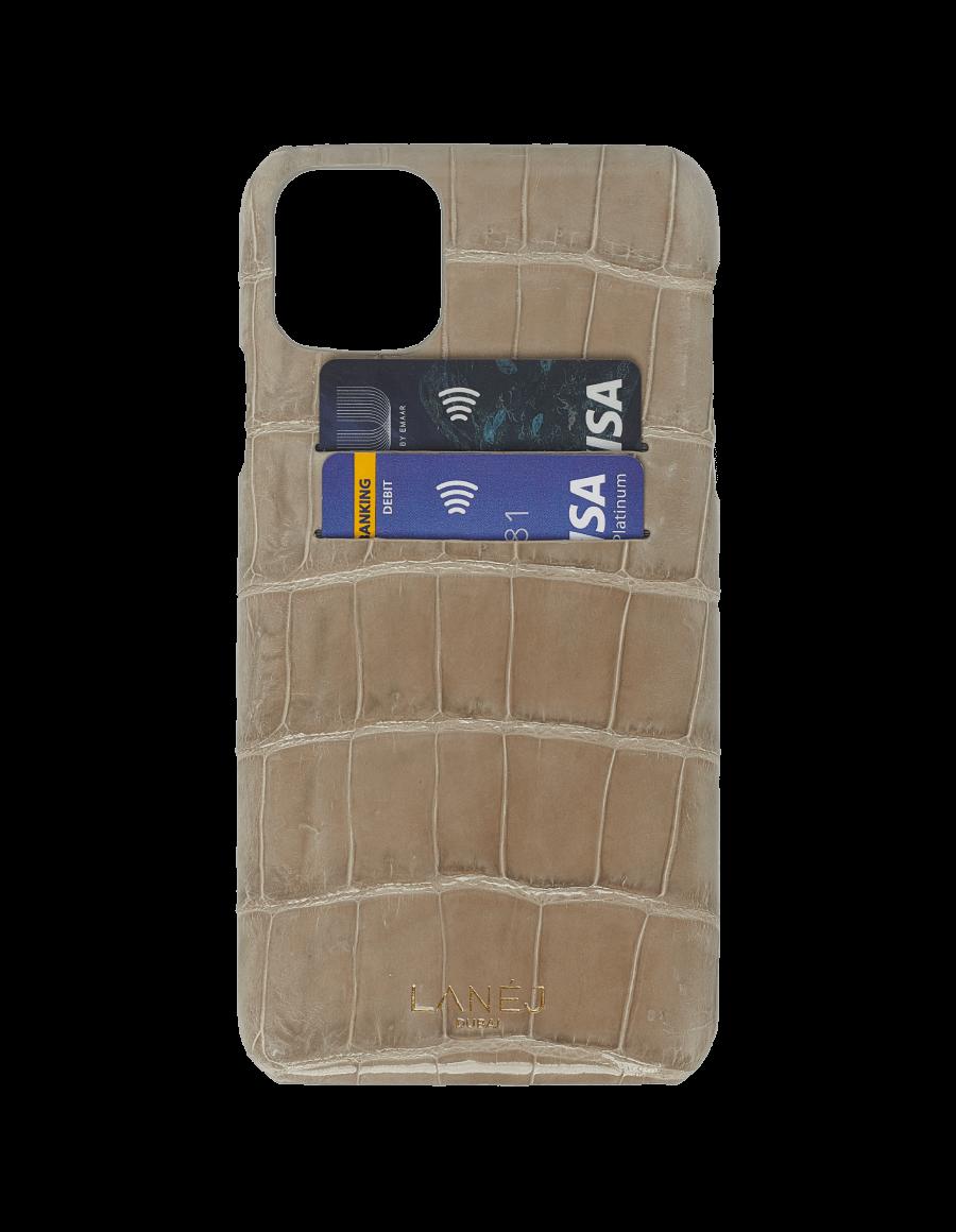 Dorian Grey Croc iPhone 11 Pro Max With Card Slots