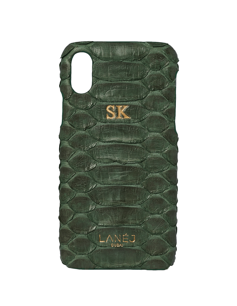 Green Python Iphone X With Initials ''SK''
