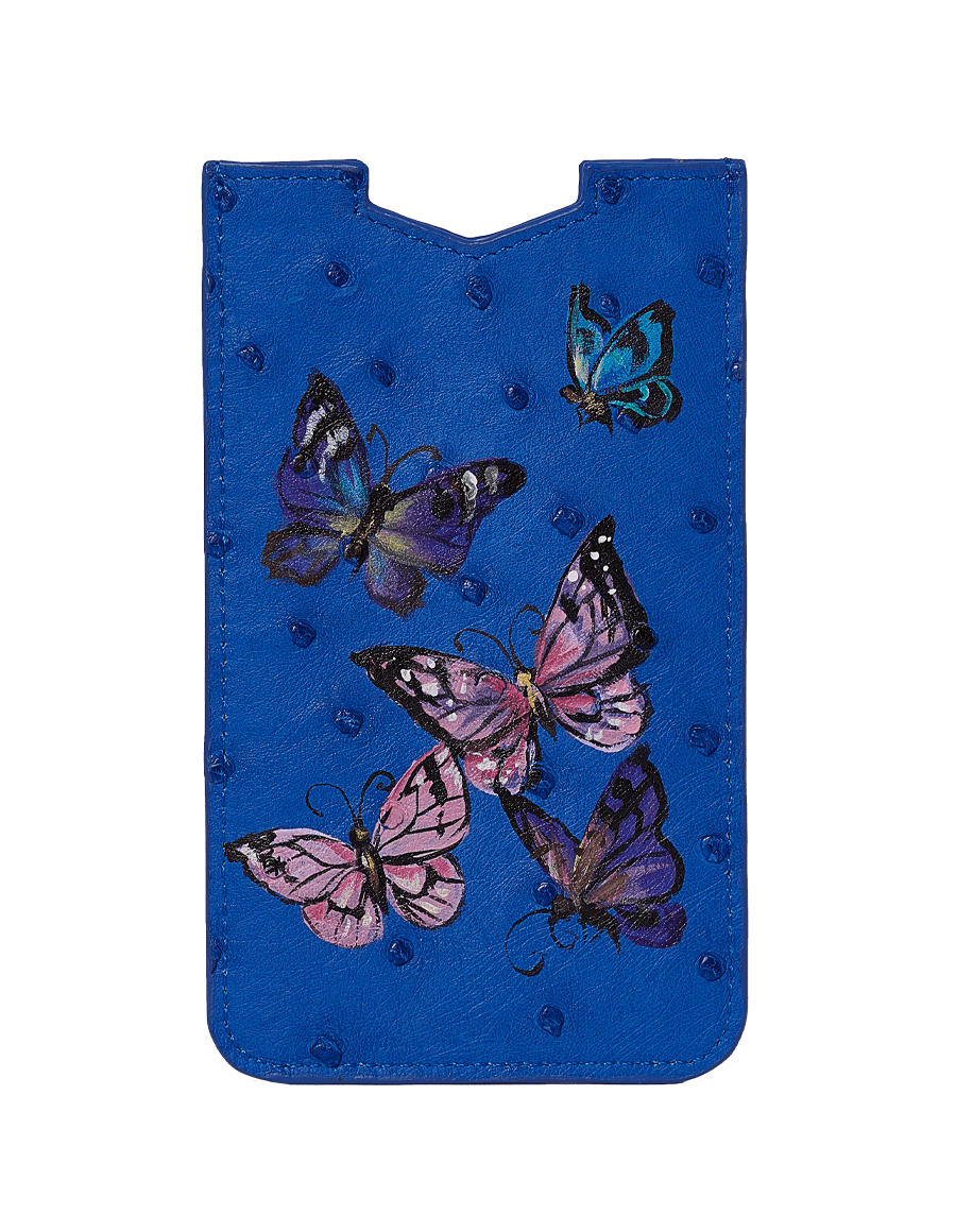 Hand Painted Butterflies On Blue Ostrich Phone Pouch