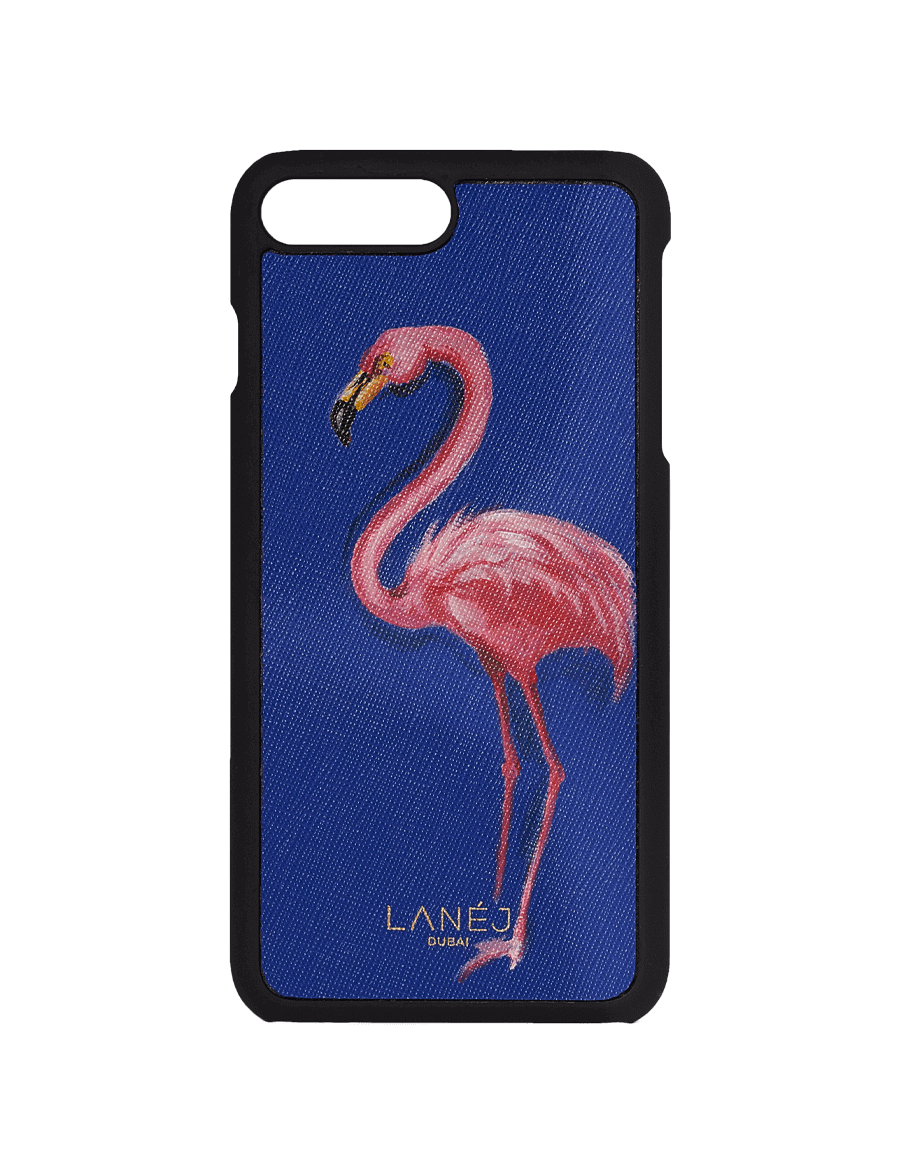Hand Painted Flamingo On Blue Saffiano Iphone 7/8 Plus