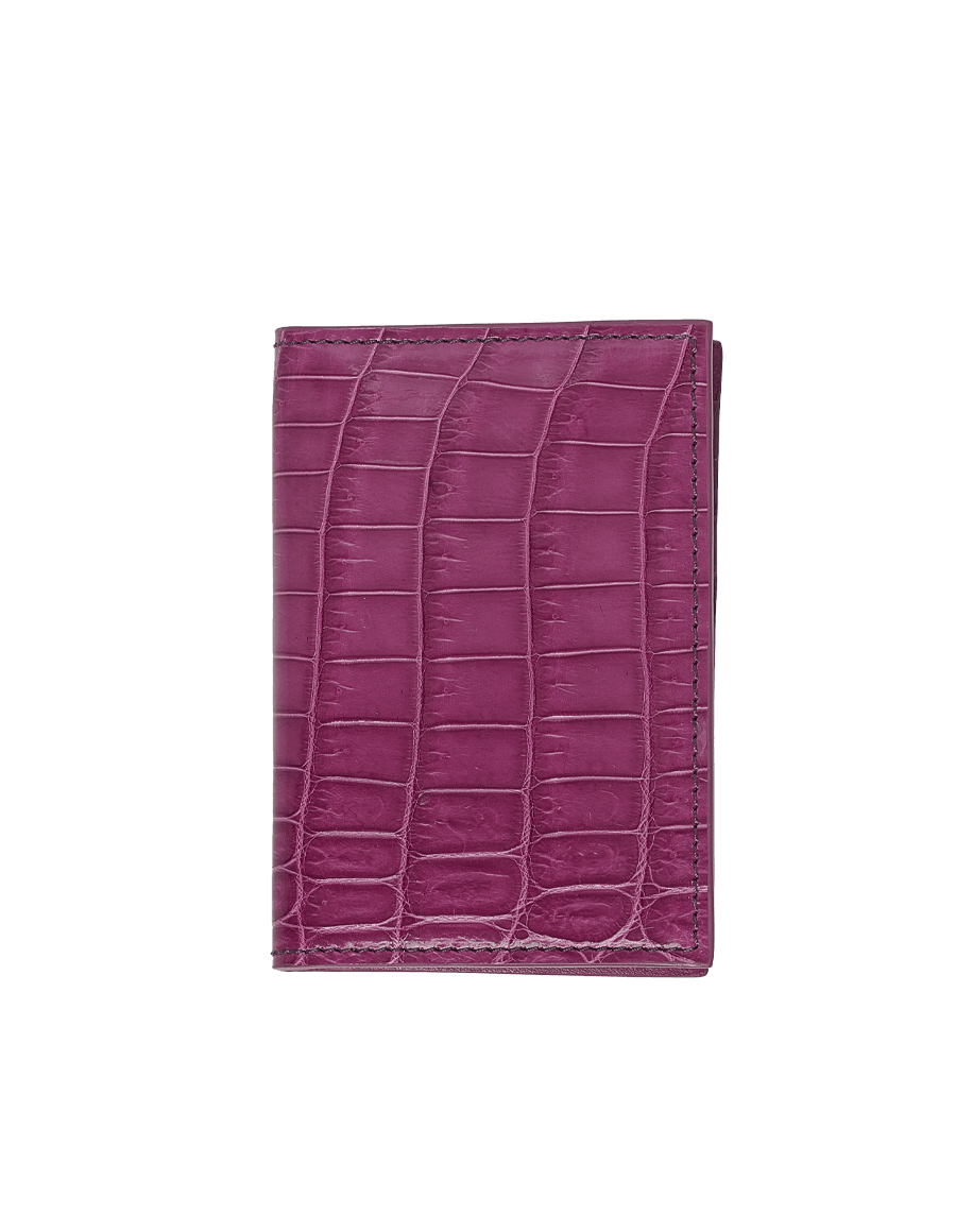 Imperial Purple Crocodile Bi-Fold Card Holder