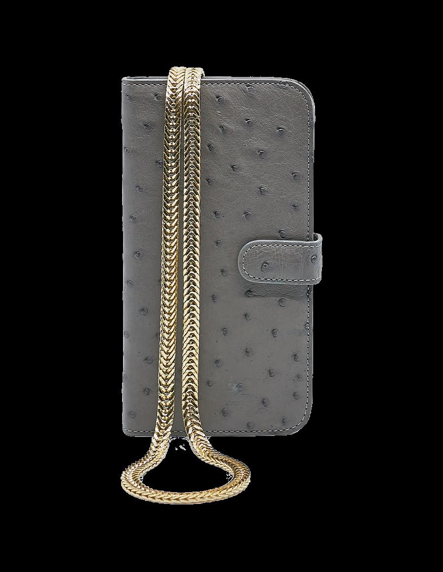 Iron Grey Ostrich iPhone 12 Pro Max Crossbody case