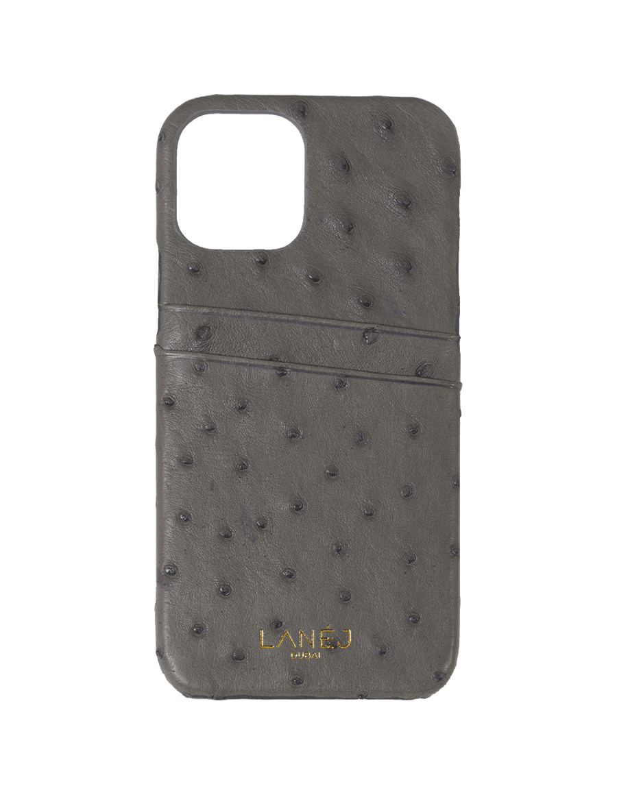 Iron Grey Ostrich iPhone 12 Pro Max Case with card slots