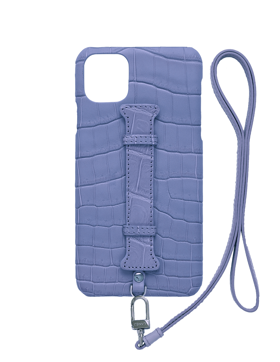 Matte Lilac  Croc Iphone 11 Pro Max With Holder & Lanyard