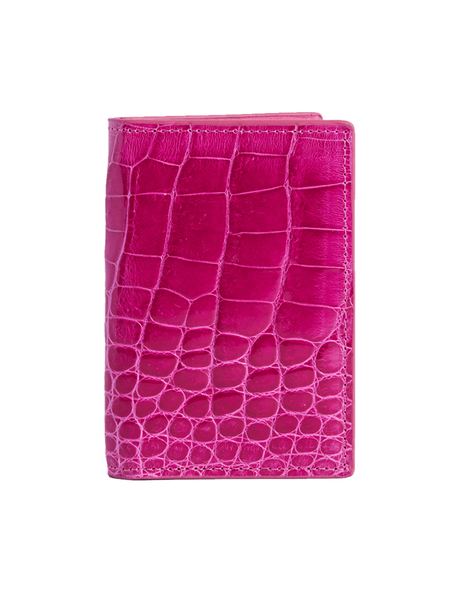 Magenta Crocodile Bi-Fold Card Holder