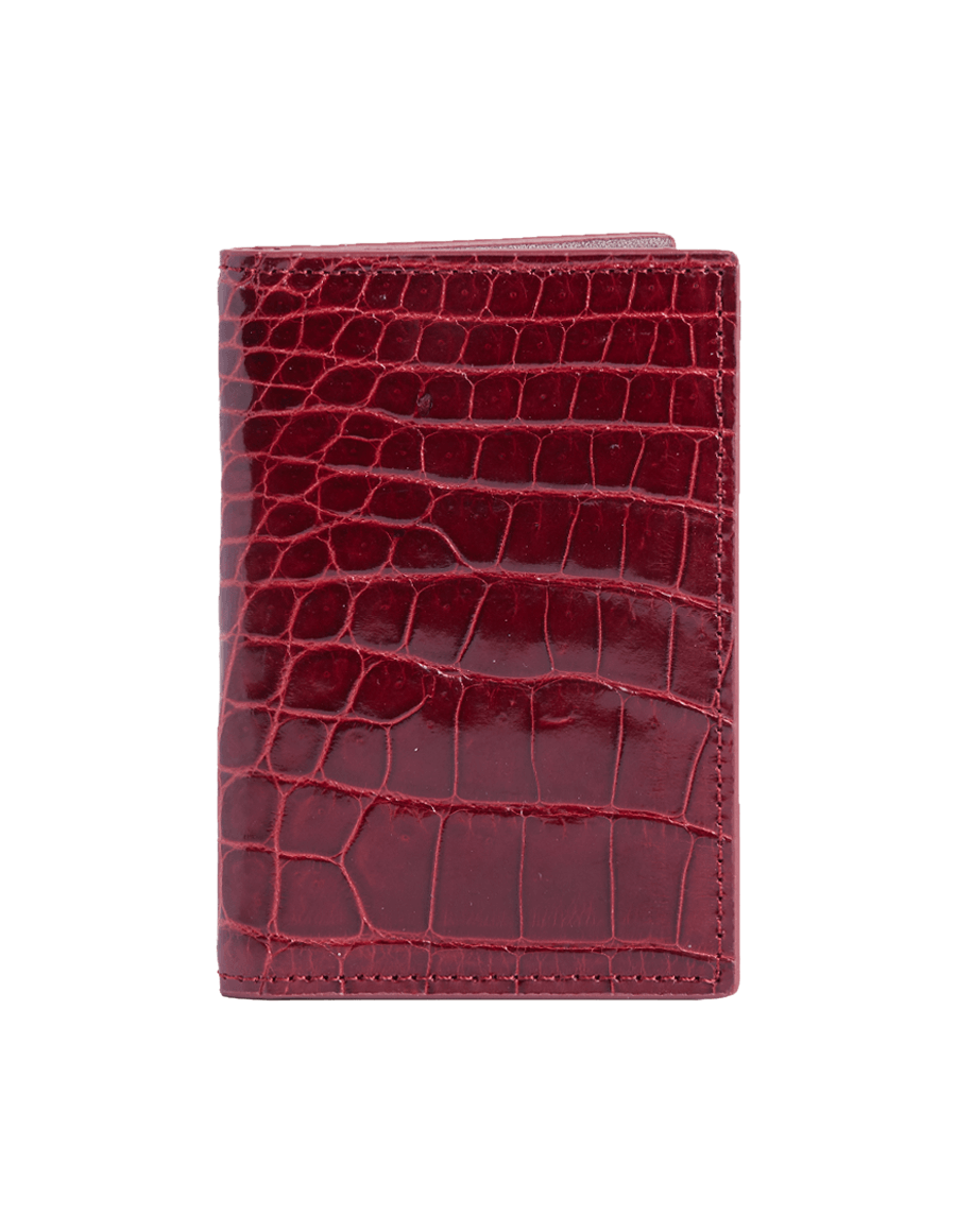 Maroon Crocodile Bi-Fold Card Holder