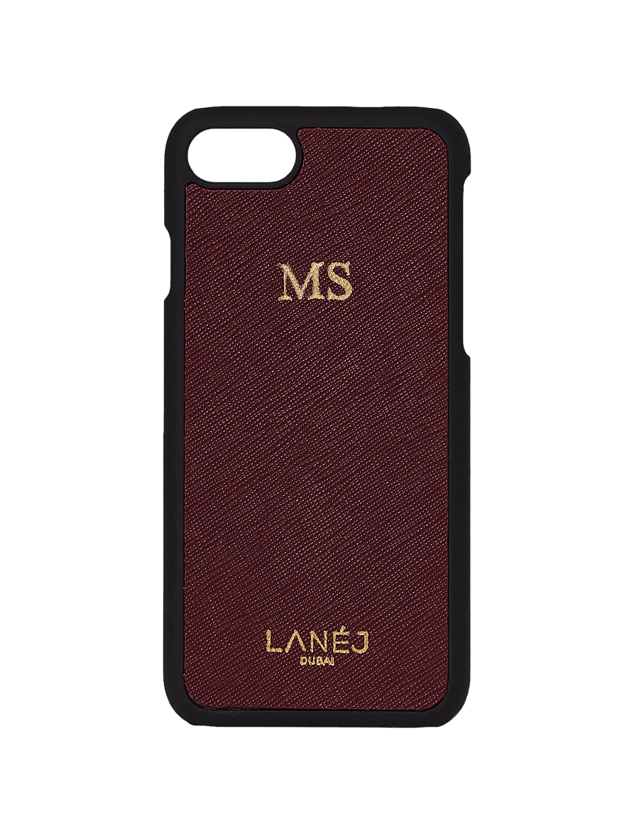 Maroon Saffiano Leather Iphone 7/8 Personalized With ''MS''