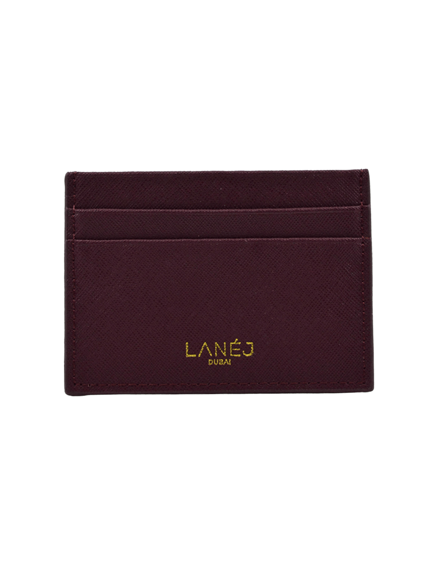 Maroon Saffiano Signature Card Holder