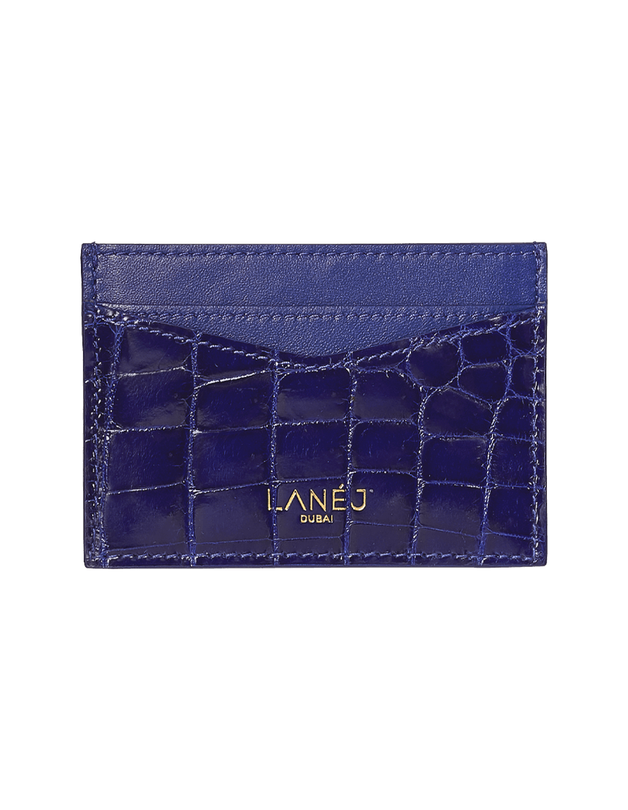 Midnight Blue Crocodile Signature Card Holder