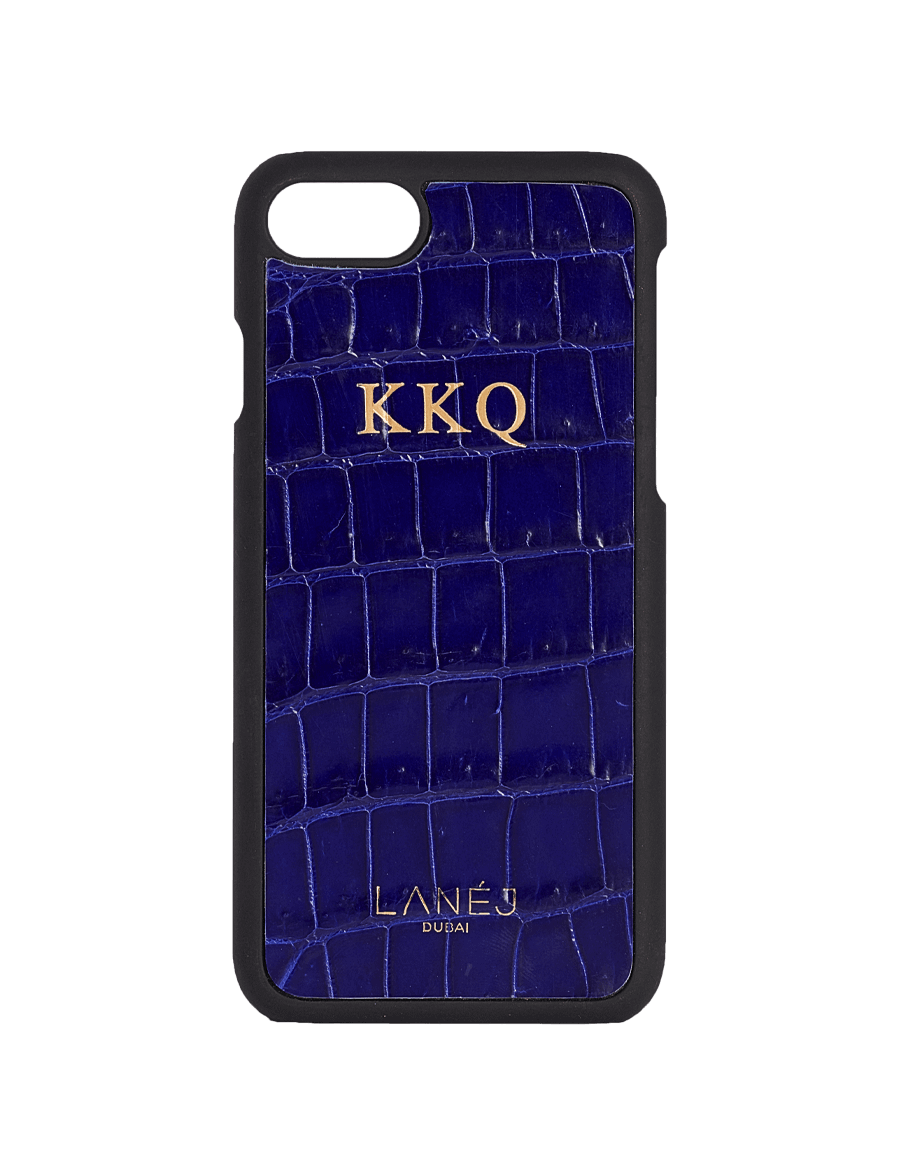 Midnight Blue Croco Iphone 7/8 With Initials ''KKQ''