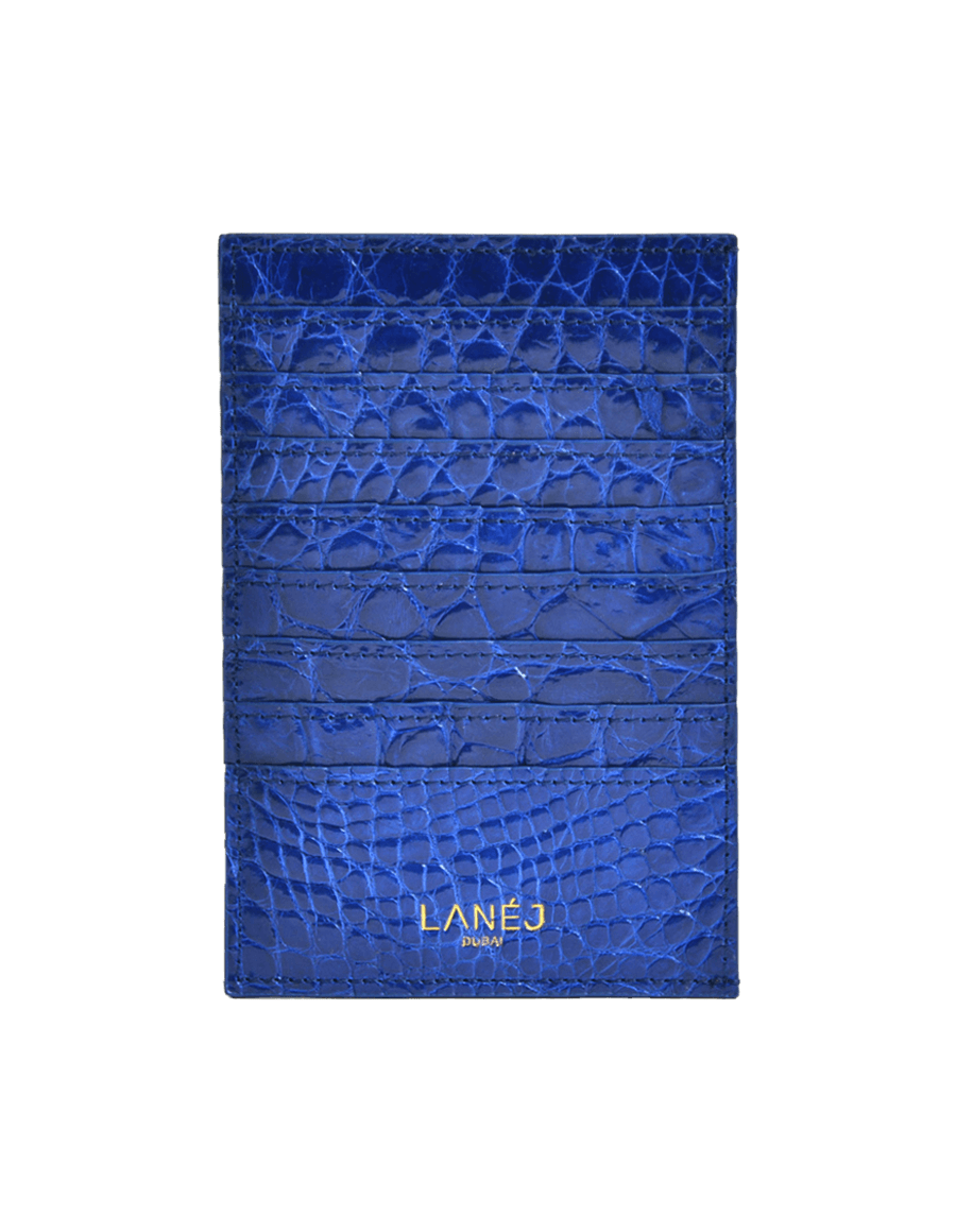 Midnight Blue Crocodile Grande Card Holder