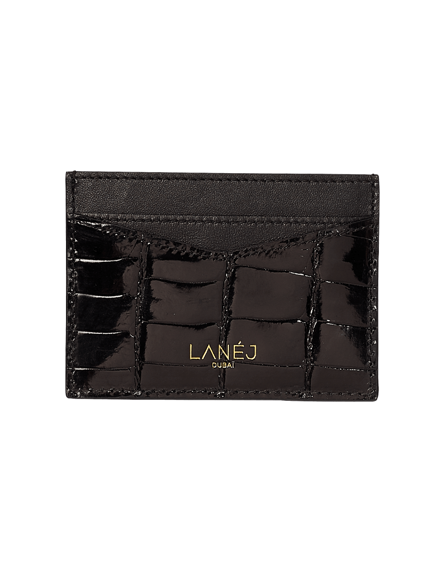 Noir 2 Crocodile Signature Card Holder