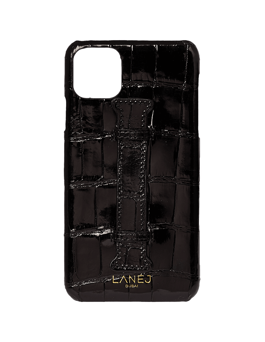 Noir Croc Iphone 11 Pro Max With Holder