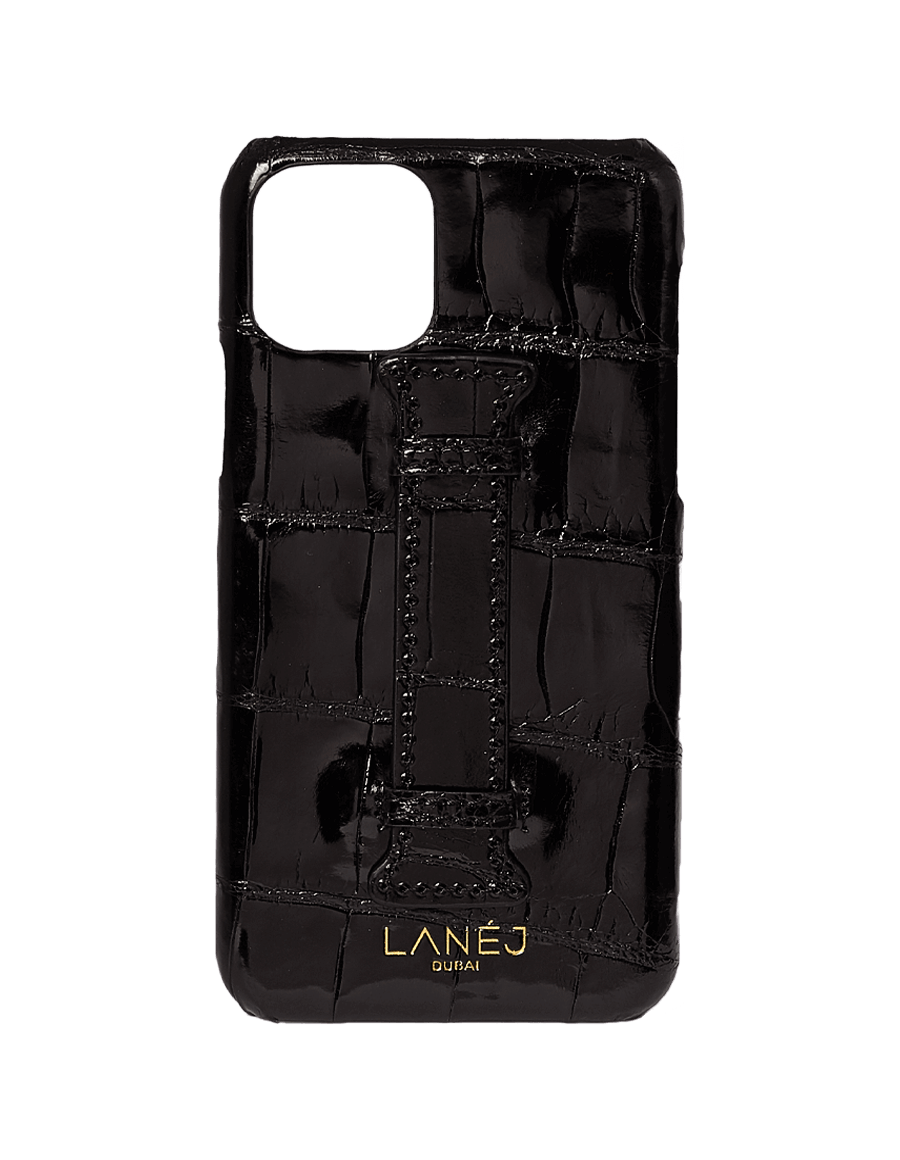 Noir Croc Iphone 11 Pro With Holder