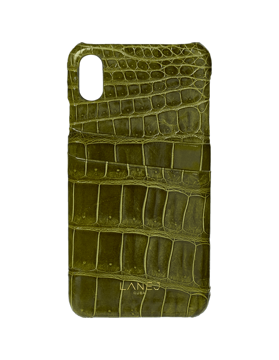 Olive Croc Iphone XS Max with Card Slots