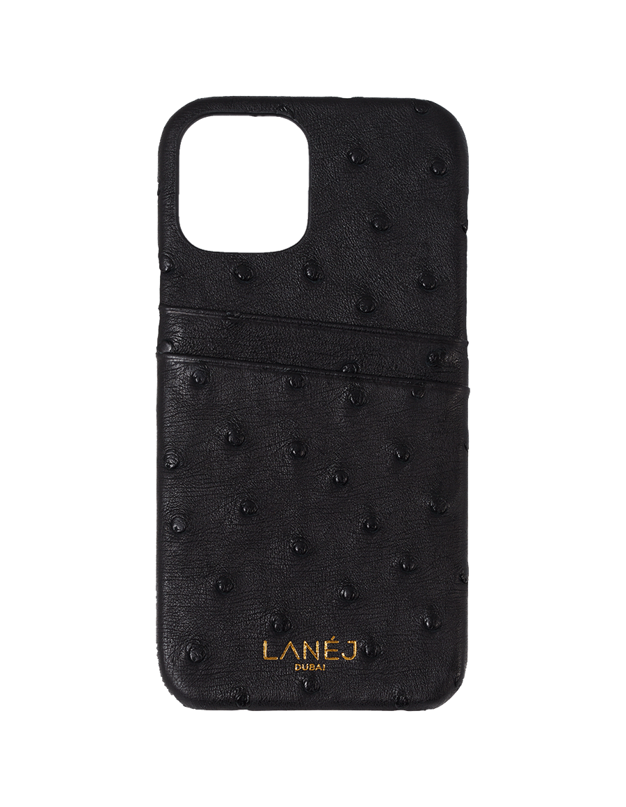 Onyx Ostrich iPhone 12 Pro Max Case with card slots