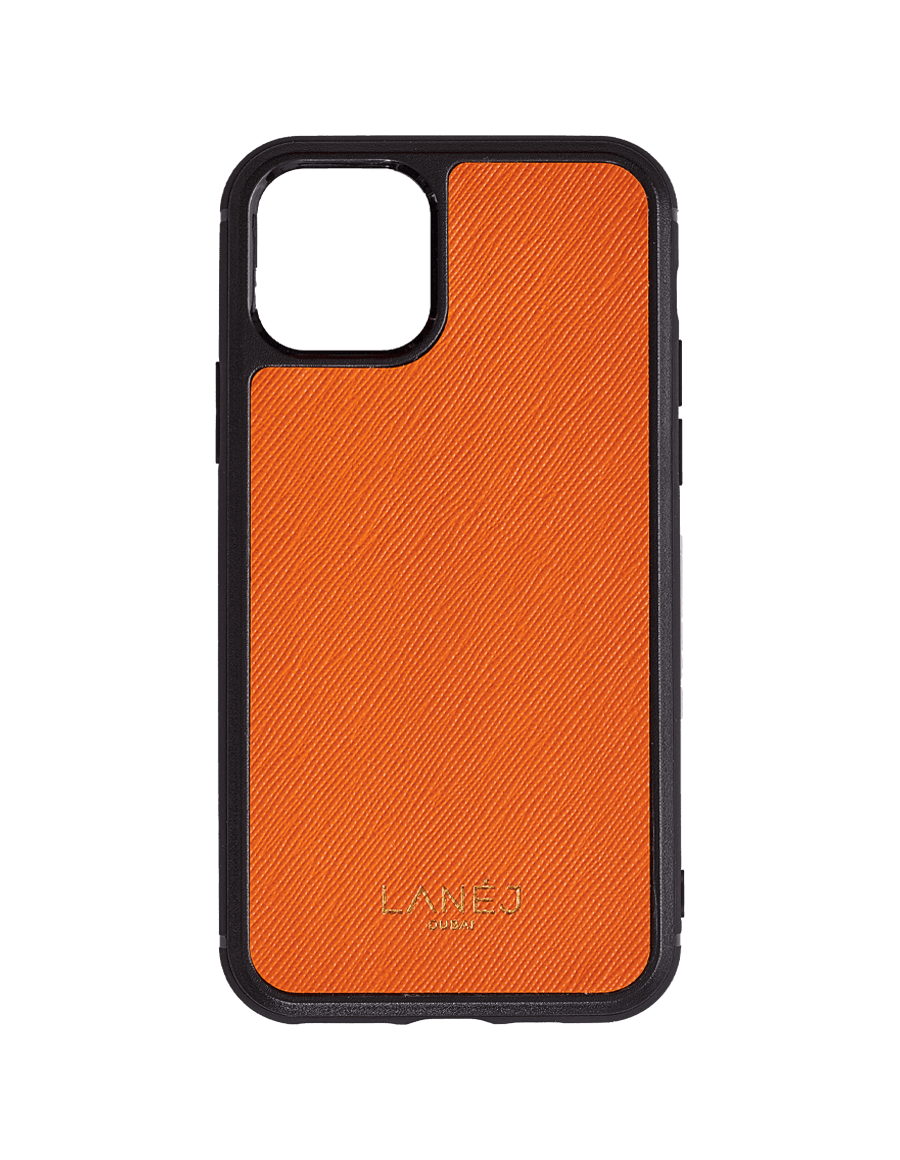 Orange Saffiano Iphone 11 Pro With Black Border