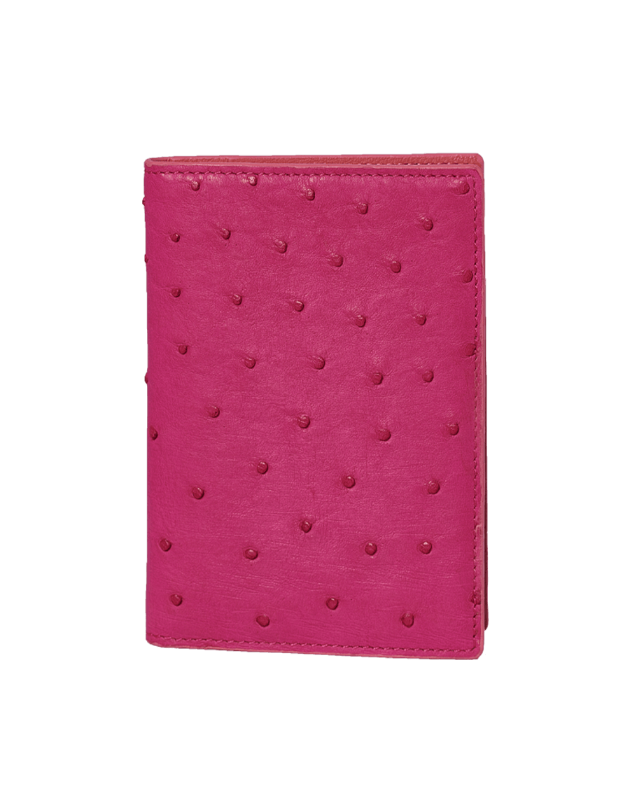 Pink Ostrich Passport Holder