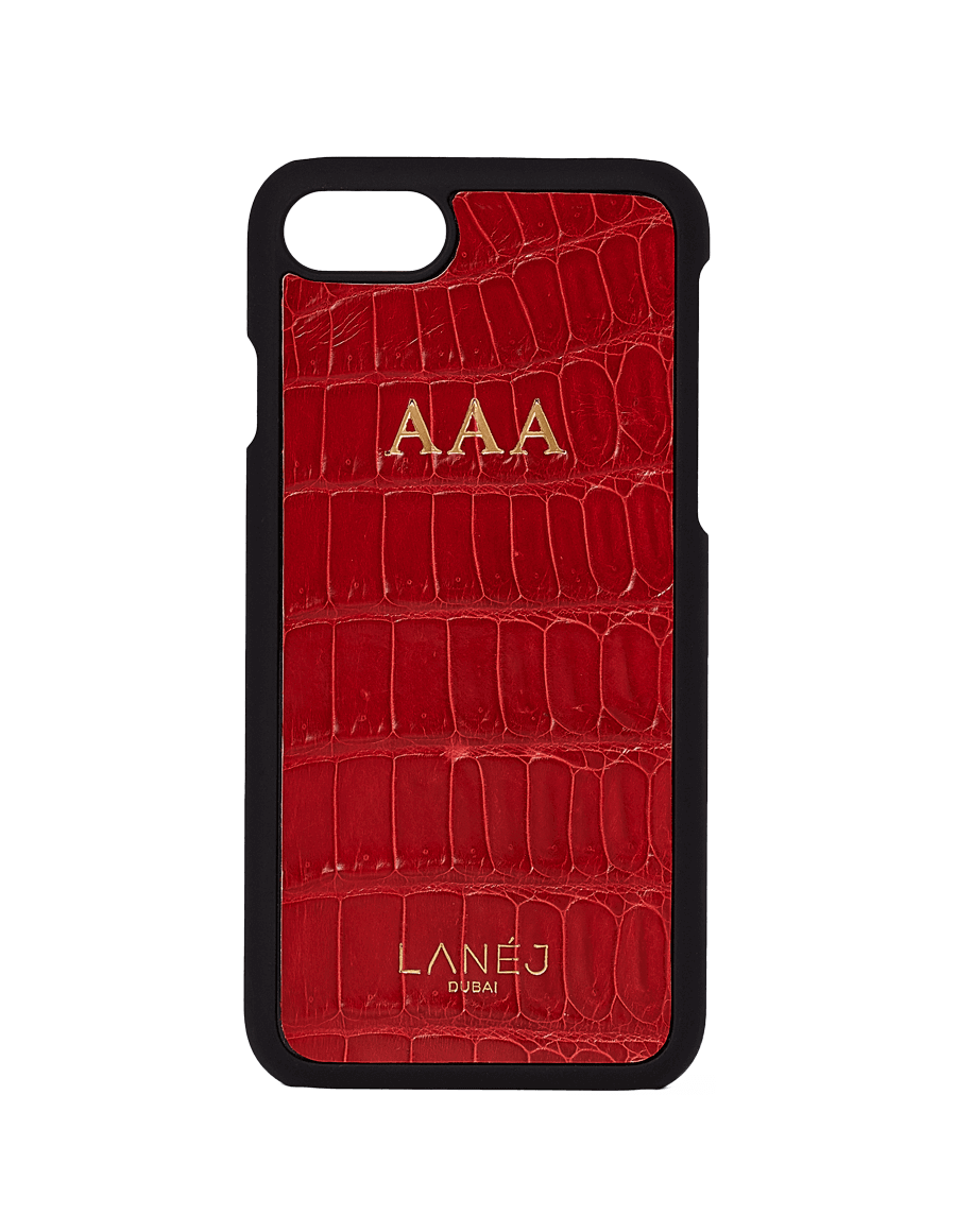 Red Croco Iphone 7/8 Personalized With ''AAA'' Initials