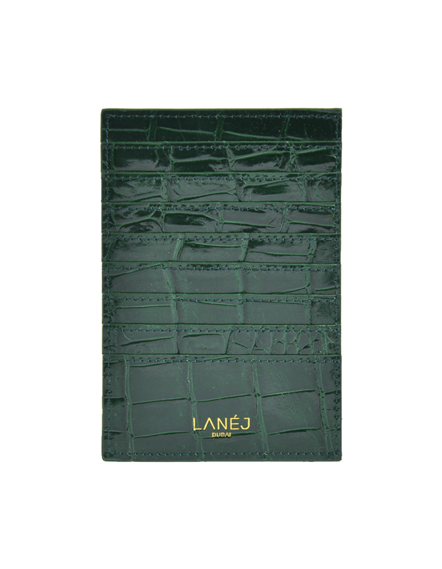 Royal Green Crocodile Grande Card Holder