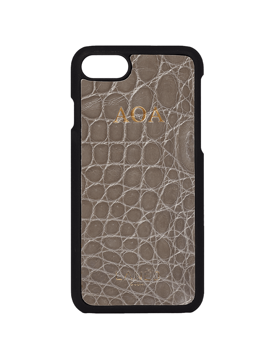 Slate Grey Croco Iphone 7/8 Personalized With ''AOA'' Initials