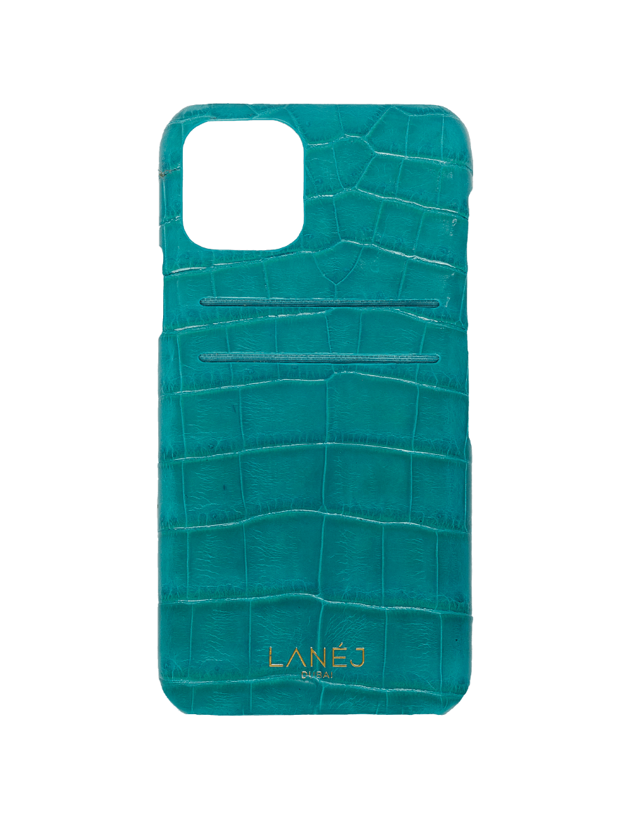 Teal Blue Croc iPhone 11 Pro With Card Slots
