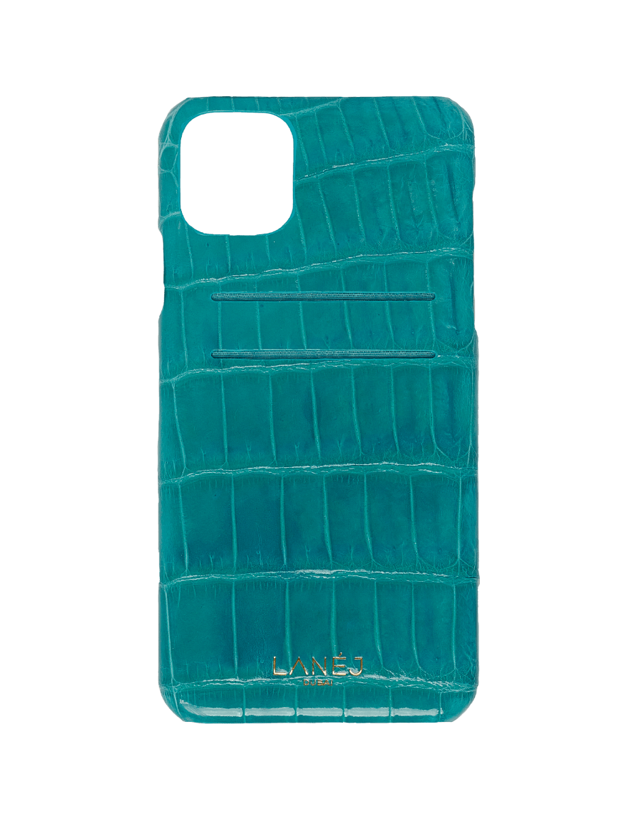 Teal Blue Croc iPhone 11 Pro Max With Card Slots