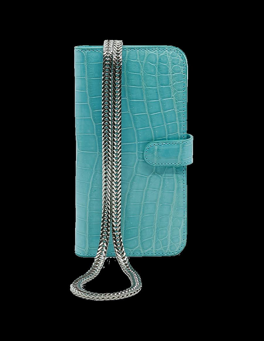 Tiffany Blue Crocodile 12 Pro Max Crossbody case